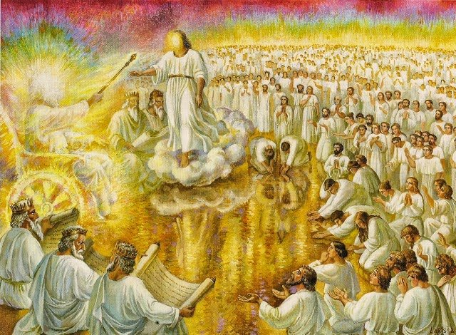 Angels worshipping God in Heaven