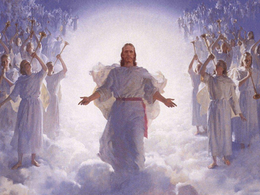 Jesus Christ in Heaven with Angels Wallpaper