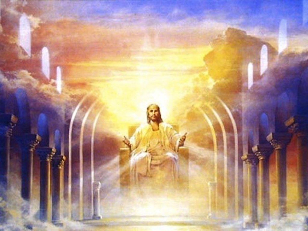 Jesus sitting in Heaven