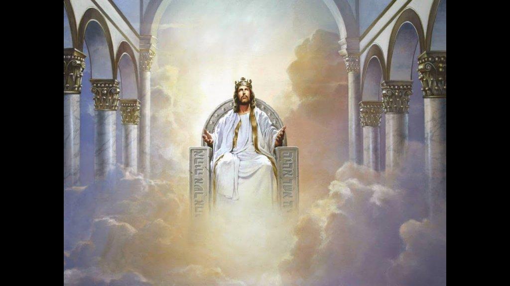Jesus sitting on throne in Heaven
